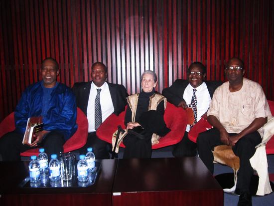 Prof. Mbulelo Mzamane, Mr. Raks Seakhoa, Dr. Nadine Gordimer, Mr. John Tsebe and Prof. Nhlanhla Maake