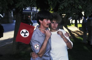 16 Graeme Williams, Member of the ultra-right-wing AWB attends a rally with his girlfriend, Pretoria, 1991. Courtesy the artist. © Graeme Williams.