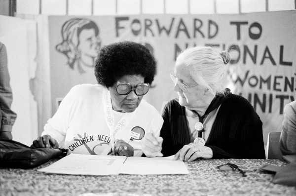 Albertina Sisulu and Helen Joseph at a National Women's Unity Meeting Late 1980's Photo by: Dr Peter Magubane