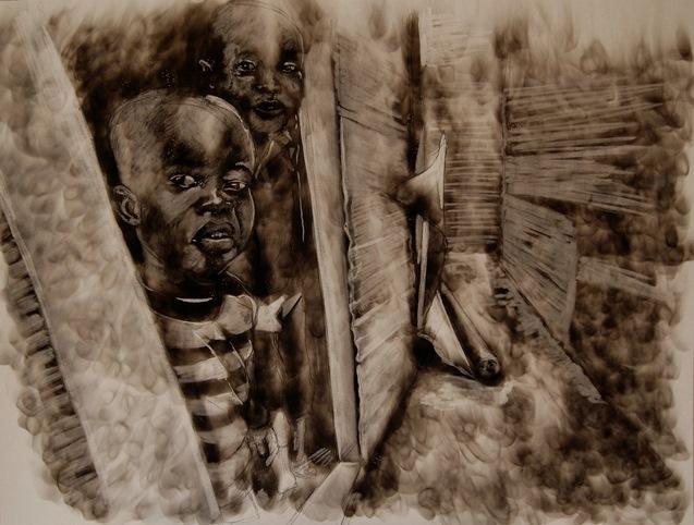 Candle smoke on paper- Azael Langa
