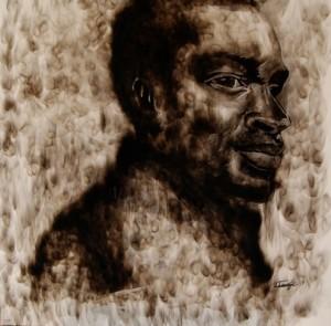 Langa, Azael. Smoke Potrait 2013. Candle smoke on canvas