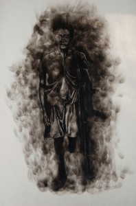Langa, Azael. The Pillar 2013. Candle smoke on paper