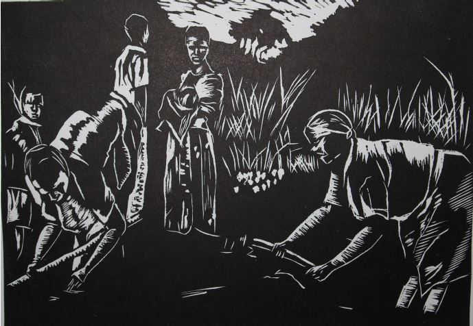 In the beginning-2014-Linocut Print-21 cm x 30 cm