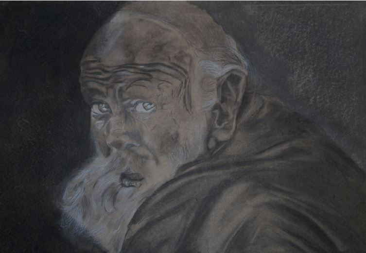 Senior citizen-2014-Charcoal and chalk on paper-84 cm x 59 cm
