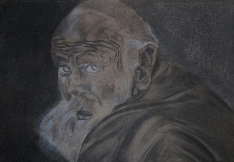 Senior citizen-2014-Charcoal and chalk on paper-84 cm x 59 cm