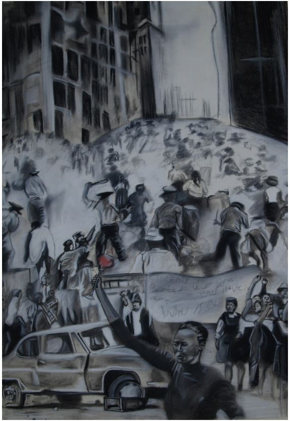 Toast to the dead-2014-Charcoal and chalk on paper-106 cm x 77 cm