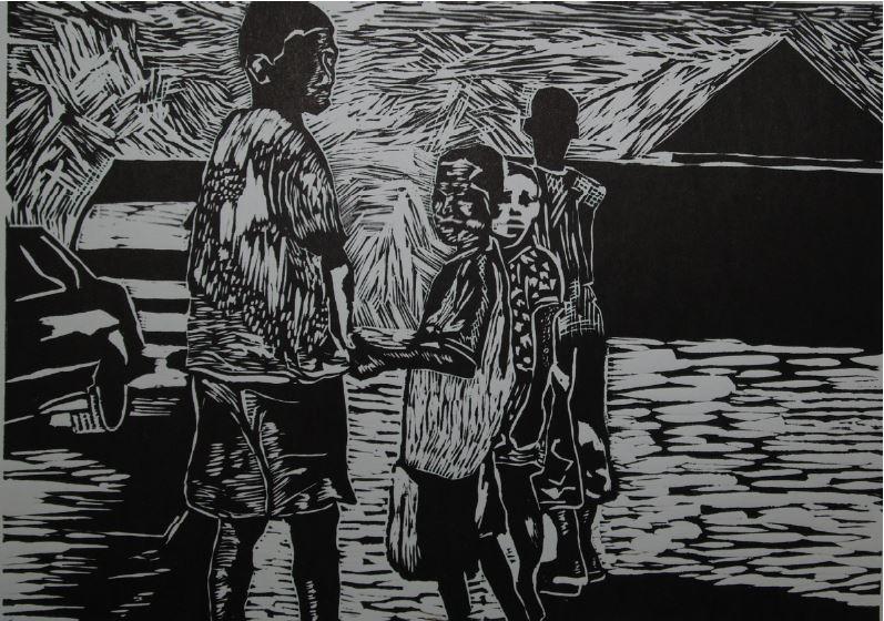 Township Scene 2-2014-Linocut Print-21 cm x 30 cm