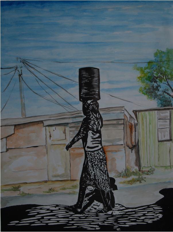 Township Scene-2014-Watercolour and linocut print-69 cm x 43 cm