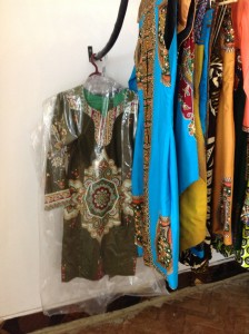 Iris Santos designs displayed at her boutique in Maputo.