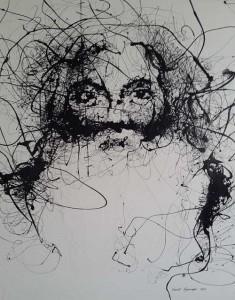 VN9- Wisdom stare V, Enamel on canvas, 146cmX172cm,