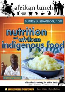 Welcome to AFRIKAN LUNCH, Sunday 30 November, 1pm