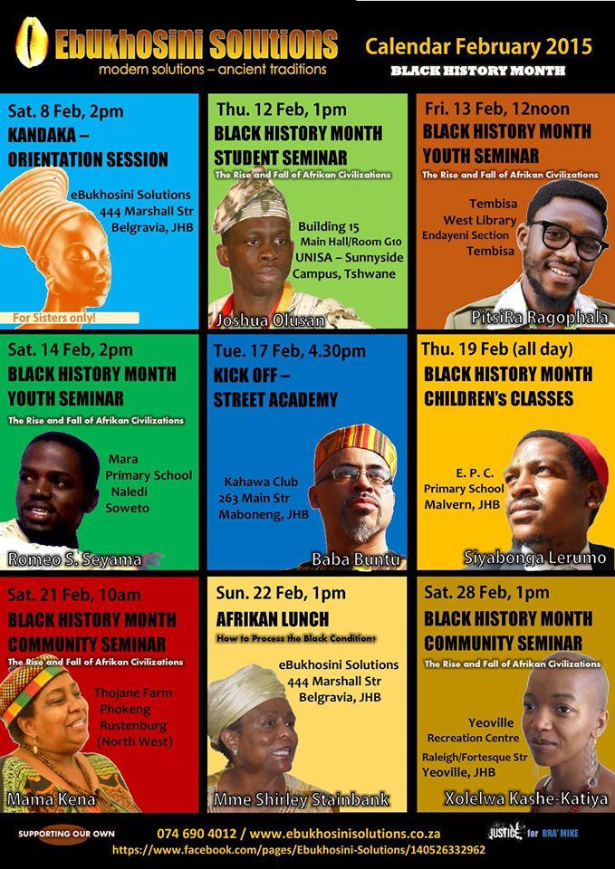 BLACK HISTORY MONTH SEMINARS 2015 CALENDAR