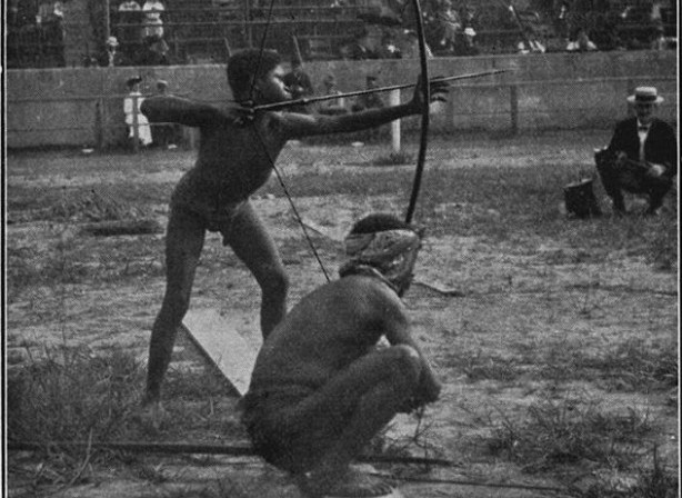 "Black Africans are shown participating in archery in 1904 in St Louis at an event whites organized called the ""Savage Olympics Exhibition."""