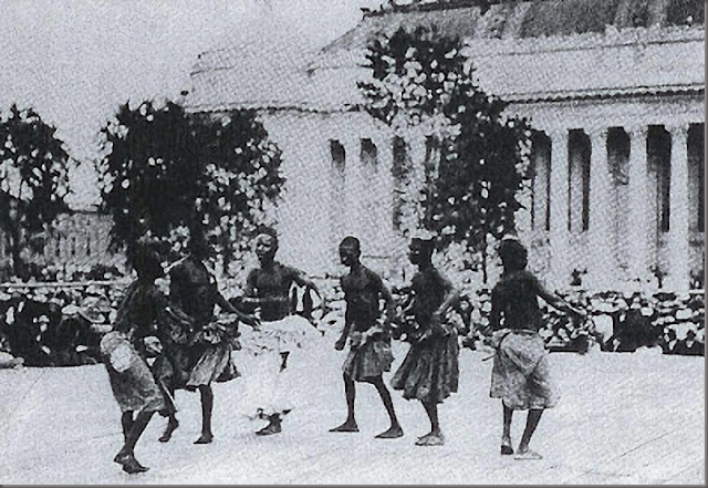Pygmies were made to dance during numerous exhibitions to entertain visitors at zoos in both Germany and England.