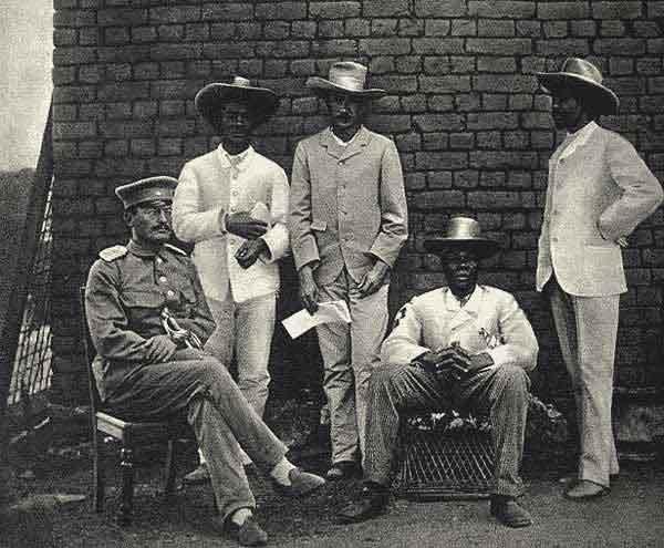 German colonial administrator Theodor Gotthilf Leutwein (seated left) and Herero Supreme Chief  Maharero - 1895