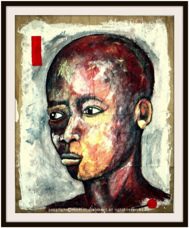 Black Boy Plotting Mixed media on reclaimed brown paper 100 x 80 cm Unframed