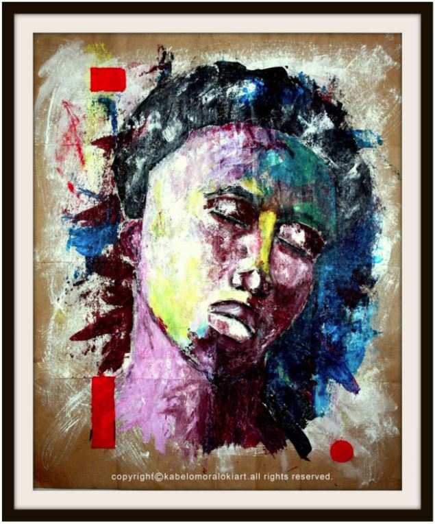 Deep in Thoughts Mixed media on reclaimed brown paper 100 x 80 cm Unframed