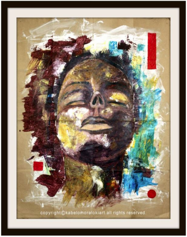 Meditation Mixed media on reclaimed brown paper 100 x 80 cm Unframed